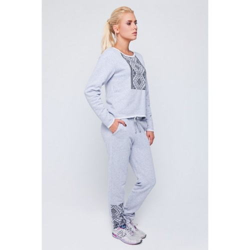 SWEAT SUIT LIGHT GREY WITH BLACK ORNAMENT