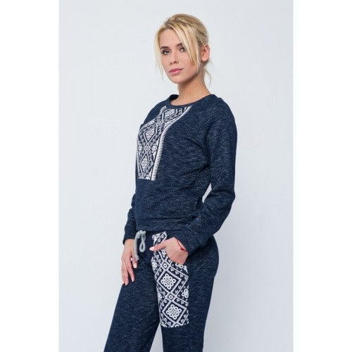 SWEAT SUIT DARK BLUE WITH WHITE ORNAMENT