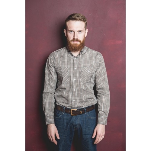 CHECKED SHIRT IN BROWN & WHITE