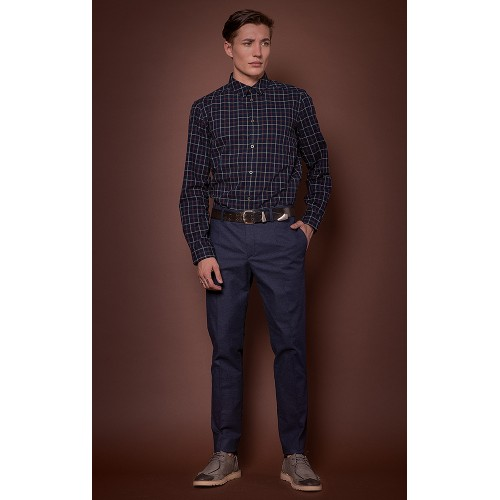 DARK BLUE CHECKED SHIRT IN RED & WHITE