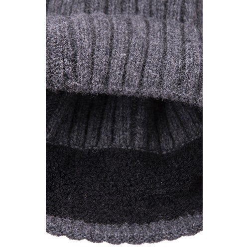 BEANIE WOOL DARK GREY